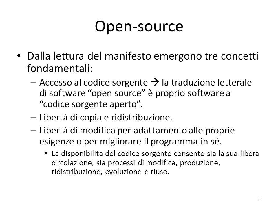 Open-source Dalla lettura del manifesto emergono tre concetti fondamentali: