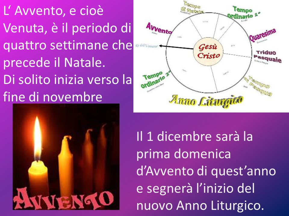 L' Avvento, e cioè Venuta, è il periodo di quattro settimane che precede il Natale.