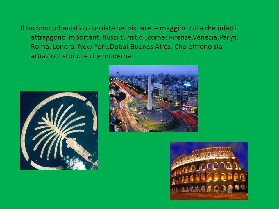 Il turismo urbanistico consiste nel visitare le maggiori città che infatti attraggono importanti flussi turistici ,come: Firenze,Venezia,Parigi, Roma, Londra, New York,Dubai,Buenos Aires.