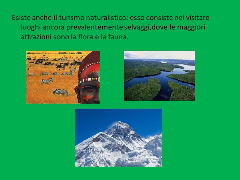 Esiste anche il turismo naturalistico: esso consiste nel visitare luoghi ancora prevalentemente selvaggi,dove le maggiori attrazioni sono la flora e la fauna.