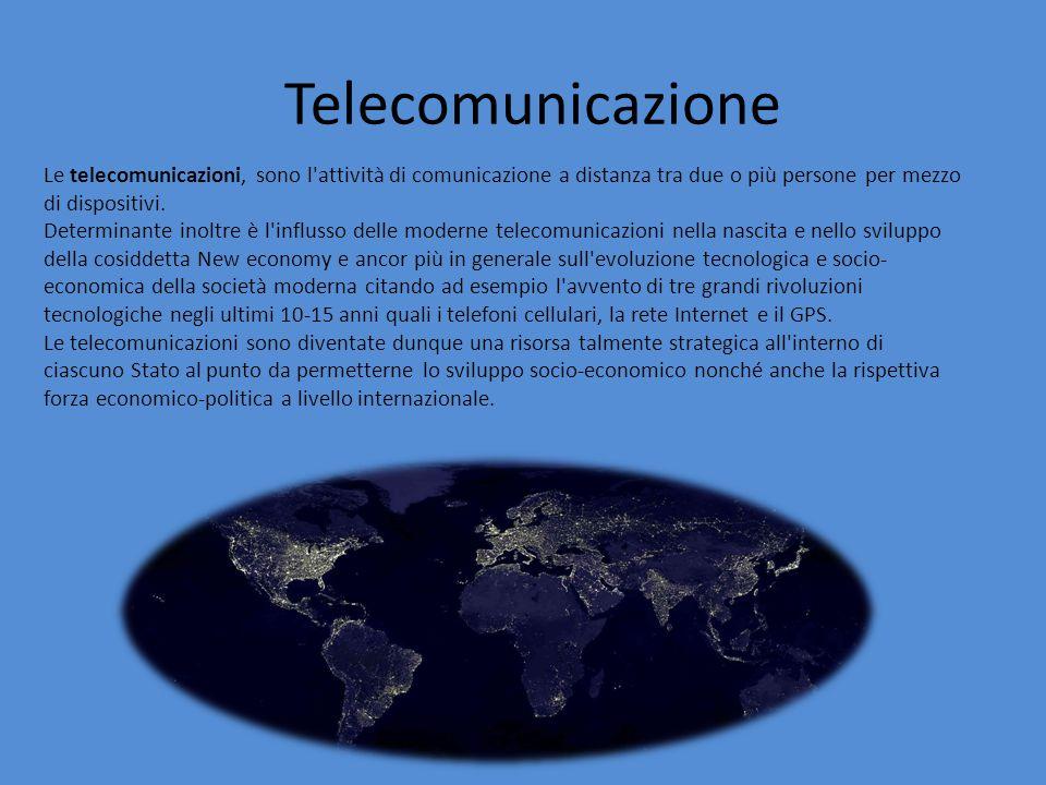 Telecomunicazione Le telecomunicazioni, sono l attività di comunicazione a distanza tra due o più persone per mezzo di dispositivi.