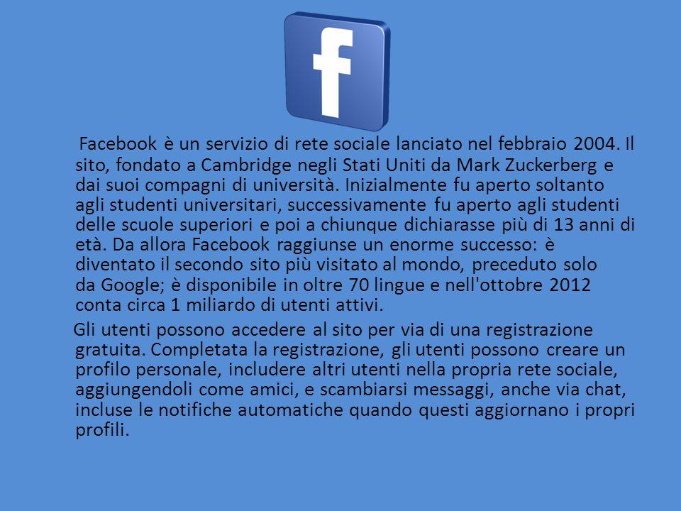 Facebook è un servizio di rete sociale lanciato nel febbraio 2004