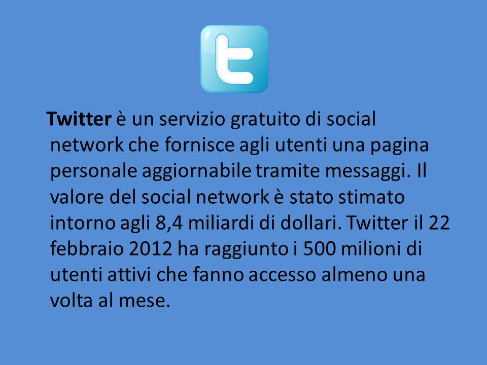 Twitter è un servizio gratuito di social network che fornisce agli utenti una pagina personale aggiornabile tramite messaggi.