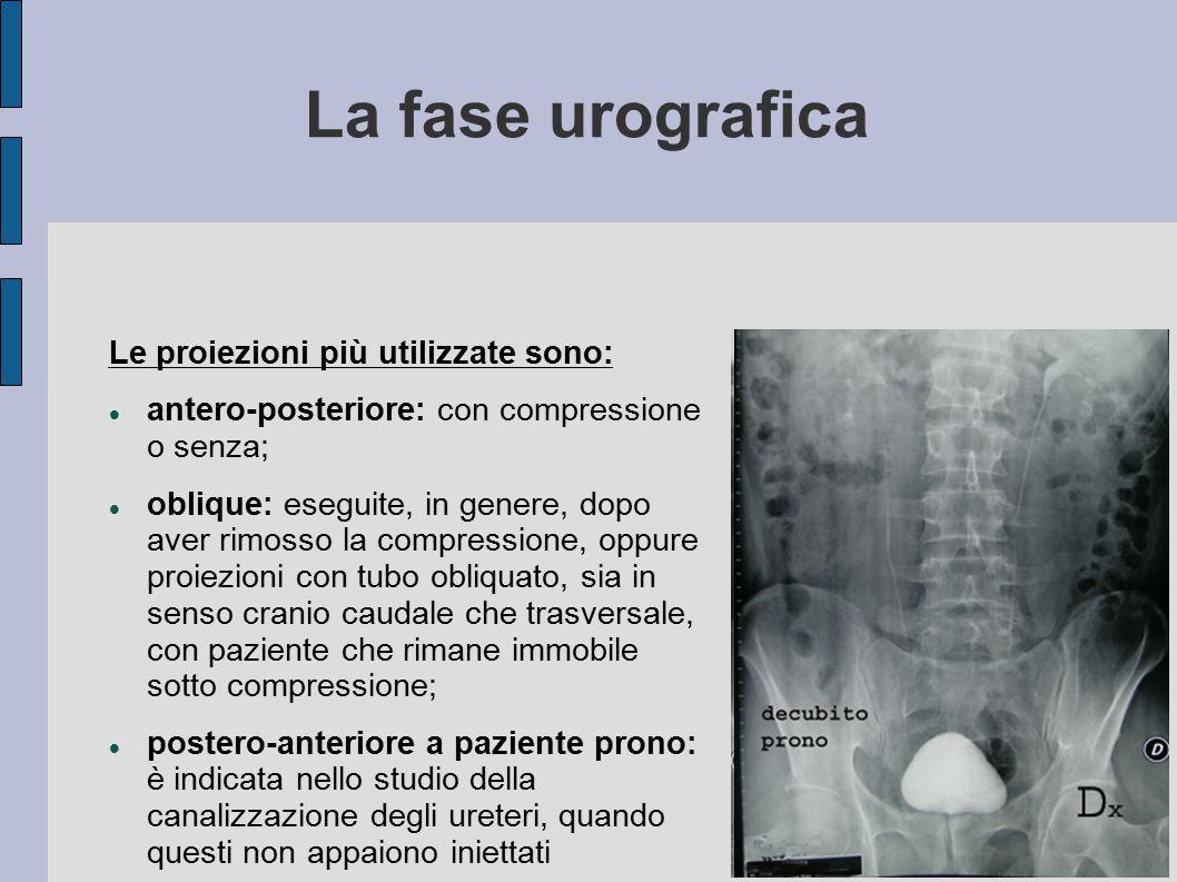 La fase urografica Le proiezioni più utilizzate sono: antero-posteriore: con compressione o senza;