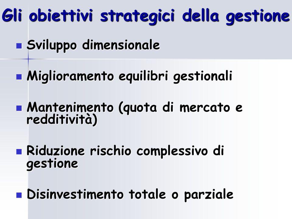 Gli obiettivi strategici della gestione
