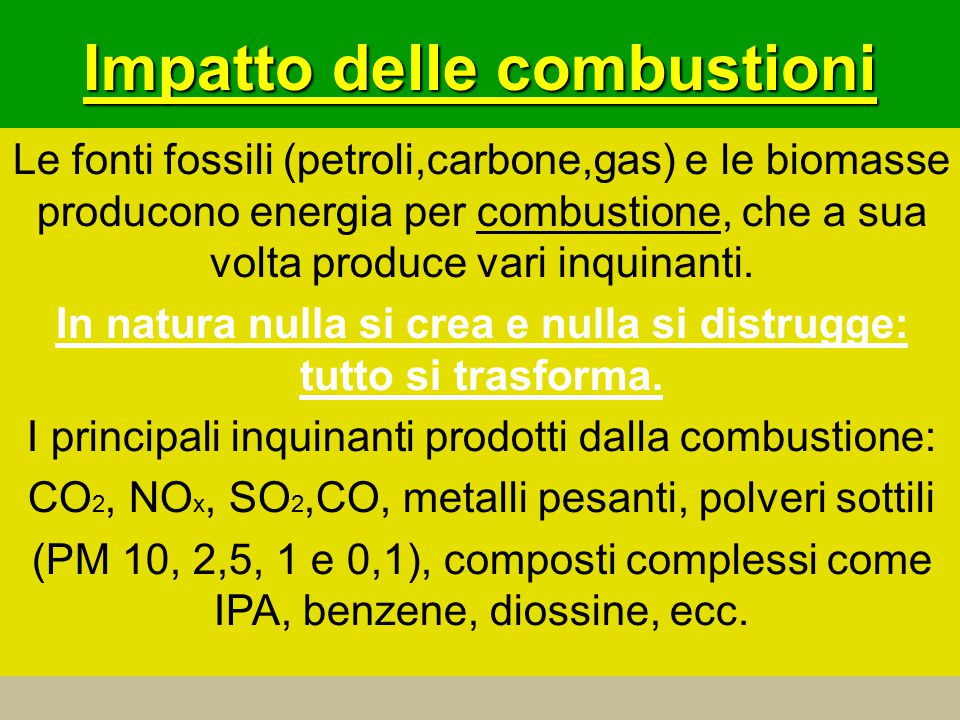 Impatto delle combustioni