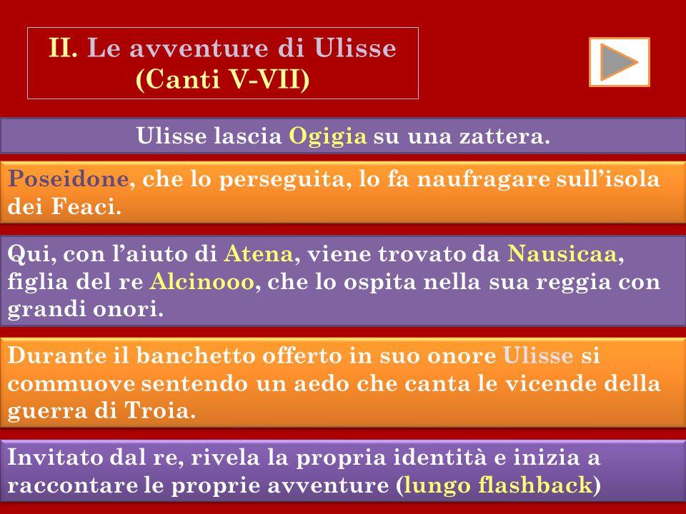 II. Le avventure di Ulisse Ulisse lascia Ogigia su una zattera.