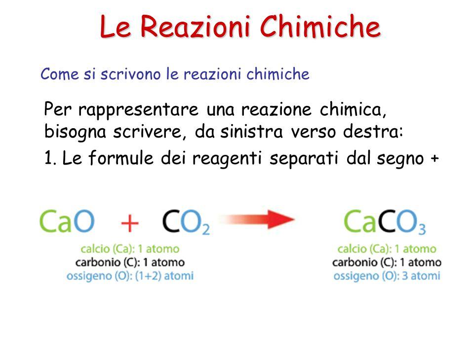 Le Reazioni Chimiche Come si scrivono le reazioni chimiche. Per rappresentare una reazione chimica, bisogna scrivere, da sinistra verso destra: