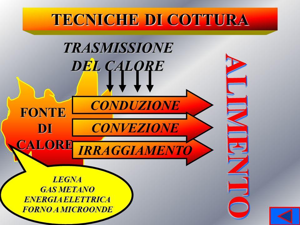 ALIMENTO TECNICHE DI COTTURA TRASMISSIONE DEL CALORE CONDUZIONE FONTE
