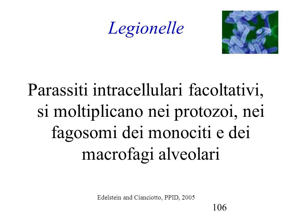 Legionelle Parassiti intracellulari facoltativi, si moltiplicano nei protozoi, nei fagosomi dei monociti e dei macrofagi alveolari.