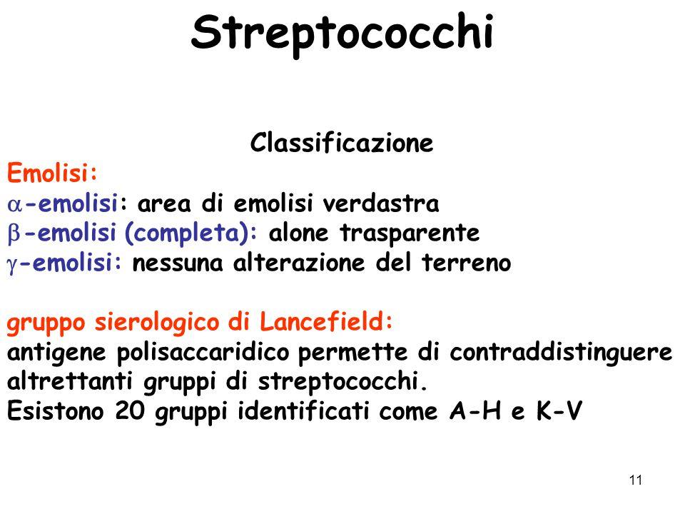 Streptococchi Classificazione Emolisi: