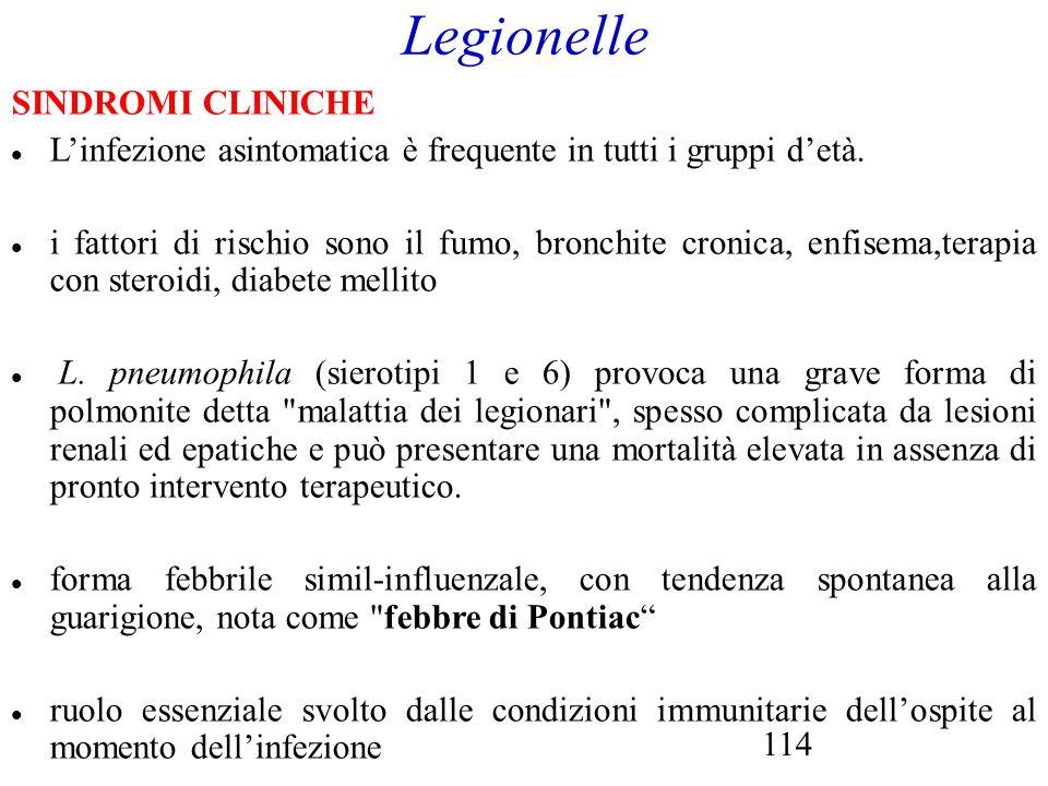 Legionelle SINDROMI CLINICHE