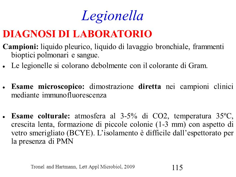 Legionella DIAGNOSI DI LABORATORIO