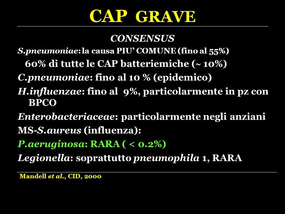 CAP GRAVE CONSENSUS 60% di tutte le CAP batteriemiche ( 10%)