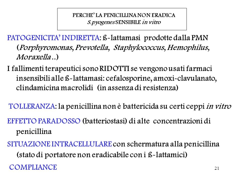 PERCHE' LA PENICILLINA NON ERADICA S.pyogenes SENSIBILE in vitro