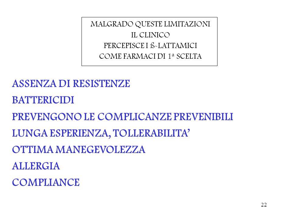 PREVENGONO LE COMPLICANZE PREVENIBILI LUNGA ESPERIENZA, TOLLERABILITA'