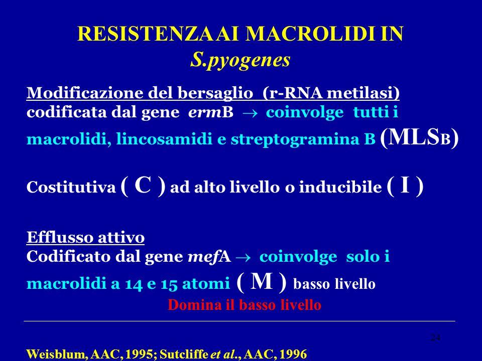RESISTENZA AI MACROLIDI IN S.pyogenes Domina il basso livello
