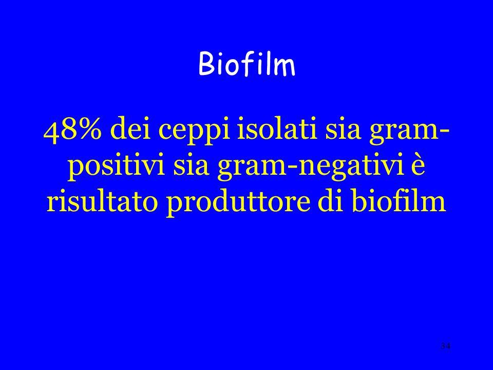 Biofilm 48% dei ceppi isolati sia gram- positivi sia gram-negativi è risultato produttore di biofilm.