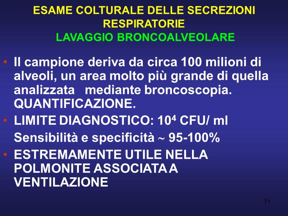 ESAME COLTURALE DELLE SECREZIONI RESPIRATORIE LAVAGGIO BRONCOALVEOLARE