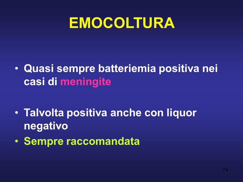 EMOCOLTURA Quasi sempre batteriemia positiva nei casi di meningite
