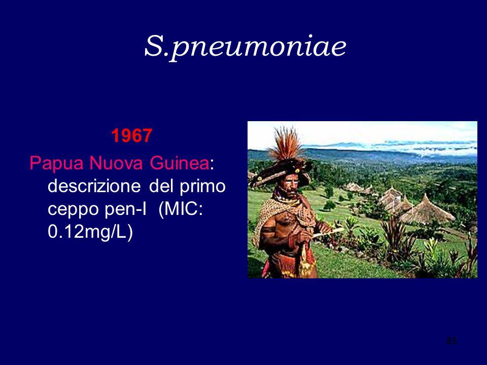 S.pneumoniae 1967 Papua Nuova Guinea: descrizione del primo ceppo pen-I (MIC: 0.12mg/L) 86