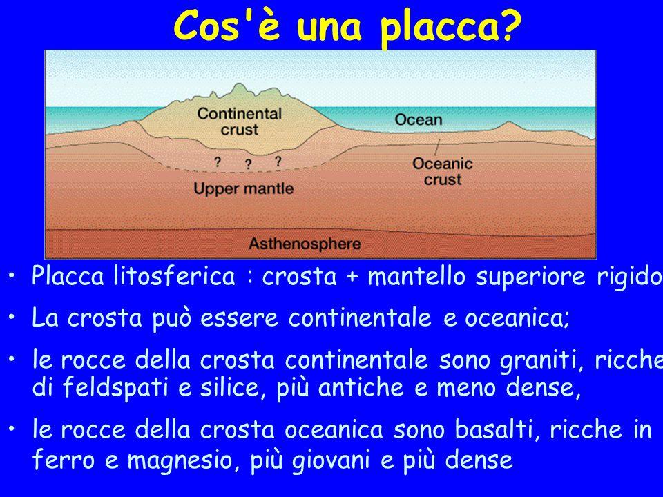 Cos è una placca Placca litosferica : crosta + mantello superiore rigido. La crosta può essere continentale e oceanica;