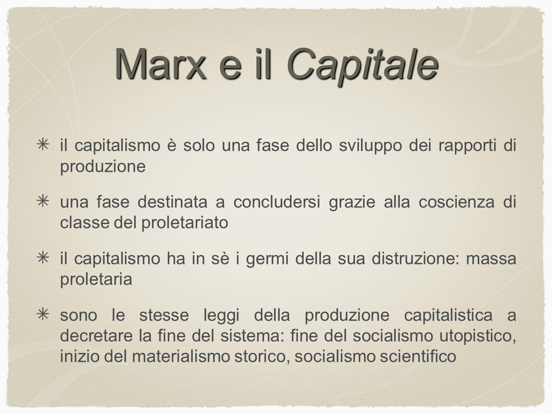 Marx e il Capitale il capitalismo è solo una fase dello sviluppo dei rapporti di produzione.