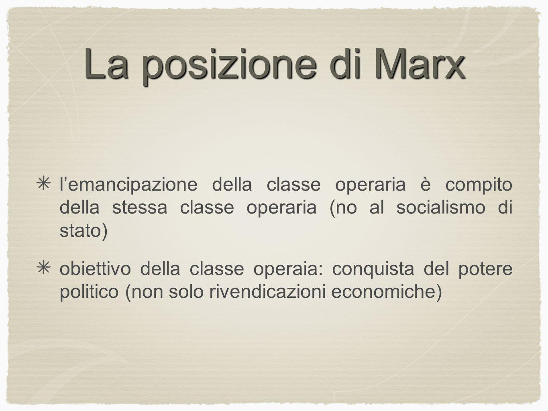 La posizione di Marx l'emancipazione della classe operaria è compito della stessa classe operaria (no al socialismo di stato)