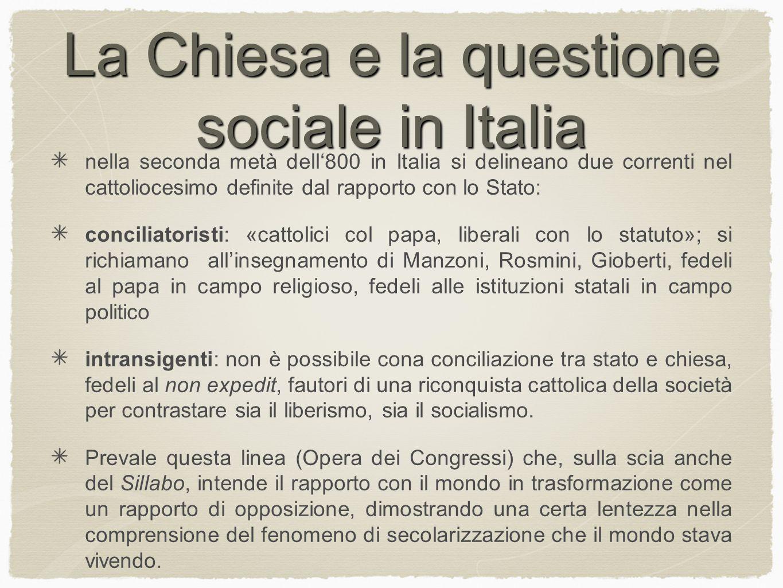 La Chiesa e la questione sociale in Italia