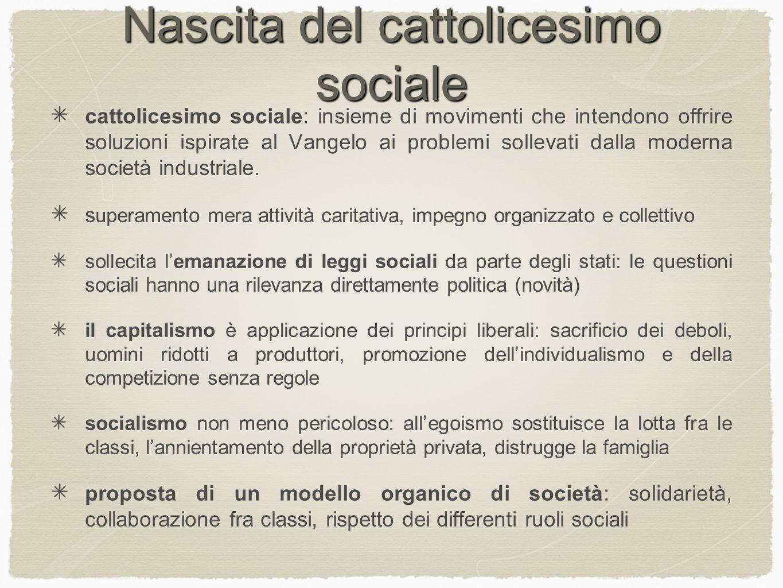 Nascita del cattolicesimo sociale