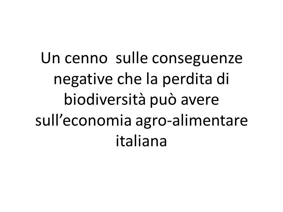 Un cenno sulle conseguenze negative che la perdita di biodiversità può avere sull'economia agro-alimentare italiana