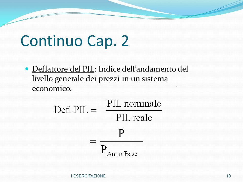 Continuo Cap. 2 Deflattore del PIL: Indice dell'andamento del livello generale dei prezzi in un sistema economico.