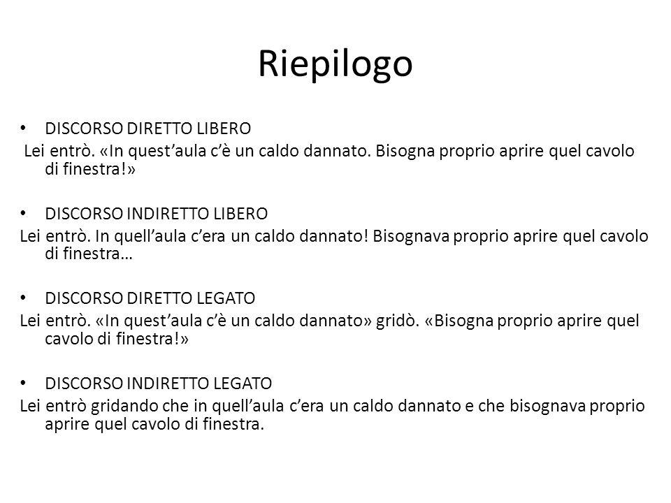 Riepilogo DISCORSO DIRETTO LIBERO