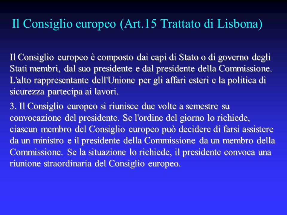 Il Consiglio europeo (Art.15 Trattato di Lisbona)