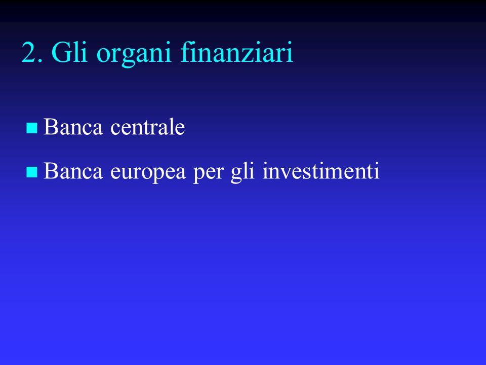 2. Gli organi finanziari Banca centrale
