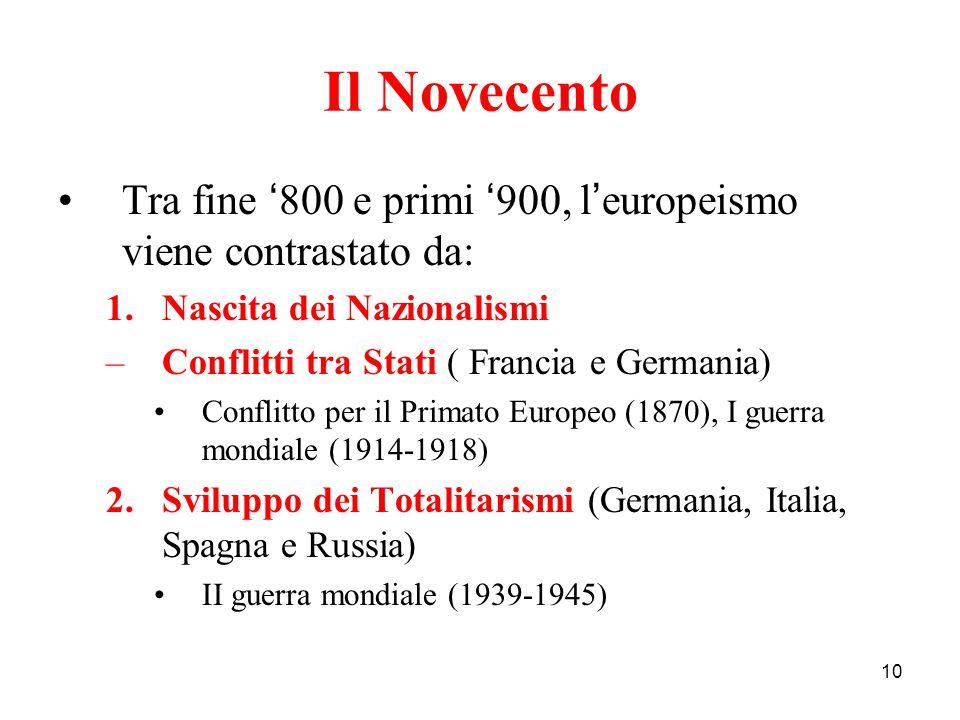 Il Novecento Tra fine '800 e primi '900, l'europeismo viene contrastato da: Nascita dei Nazionalismi.