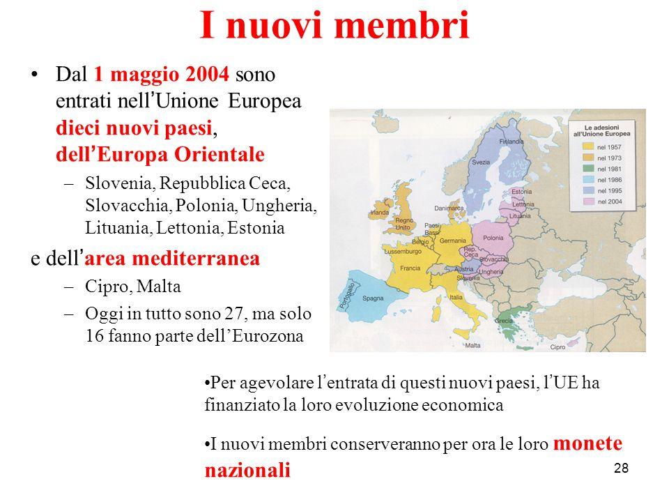 I nuovi membri Dal 1 maggio 2004 sono entrati nell'Unione Europea dieci nuovi paesi, dell'Europa Orientale.