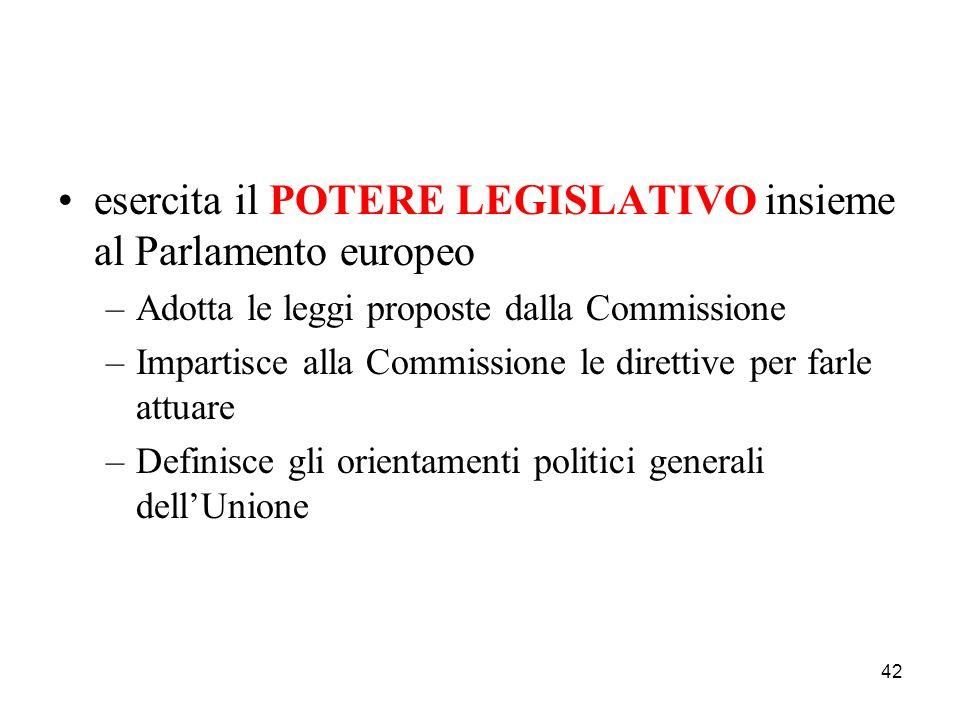 esercita il POTERE LEGISLATIVO insieme al Parlamento europeo