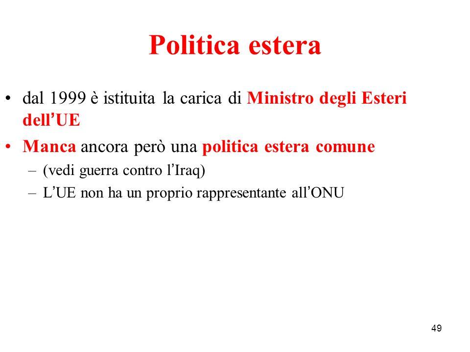 Politica estera dal 1999 è istituita la carica di Ministro degli Esteri dell'UE. Manca ancora però una politica estera comune.