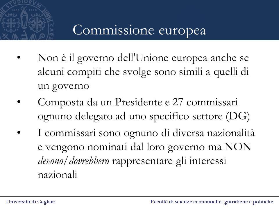 Commissione europea Non è il governo dell Unione europea anche se alcuni compiti che svolge sono simili a quelli di un governo.