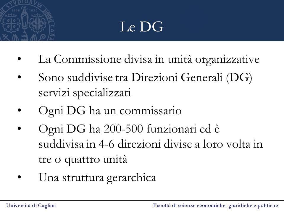 Le DG La Commissione divisa in unità organizzative