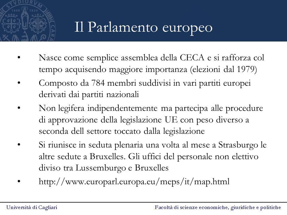 Il Parlamento europeo Nasce come semplice assemblea della CECA e si rafforza col tempo acquisendo maggiore importanza (elezioni dal 1979)
