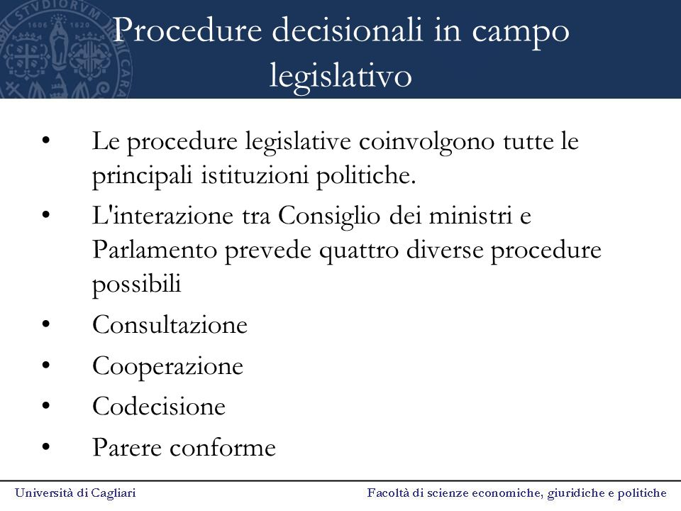 Procedure decisionali in campo legislativo