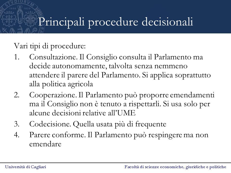 Principali procedure decisionali