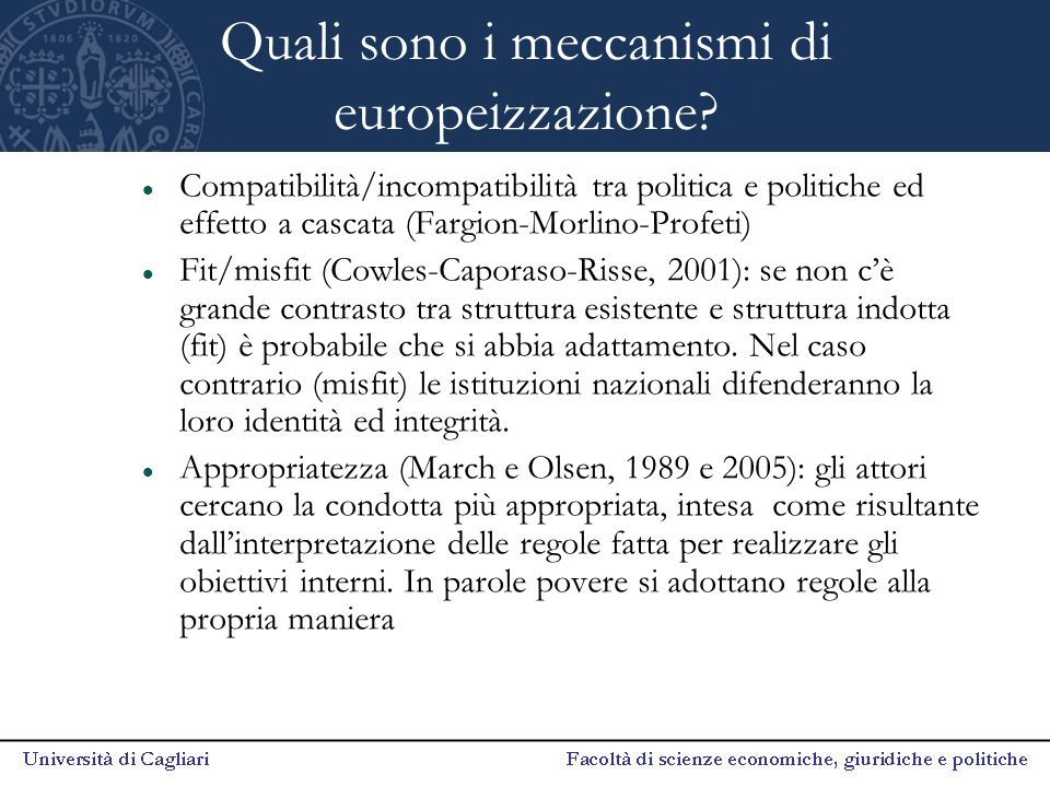 Quali sono i meccanismi di europeizzazione