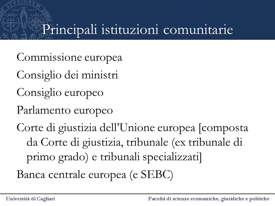 Principali istituzioni comunitarie