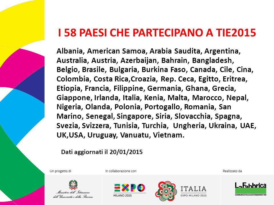 I 58 PAESI CHE PARTECIPANO A TIE2015