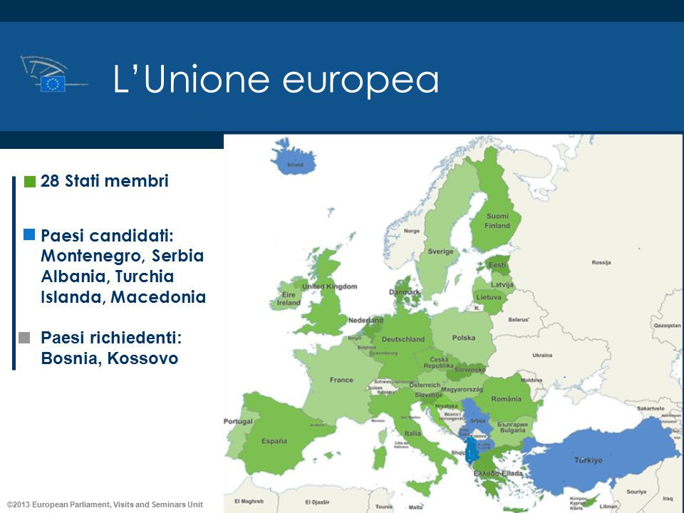 L'Unione europea 28 Stati membri Paesi candidati: Montenegro, Serbia
