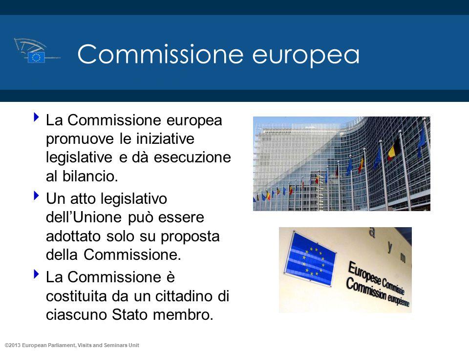 Commissione europea La Commissione europea promuove le iniziative legislative e dà esecuzione al bilancio.