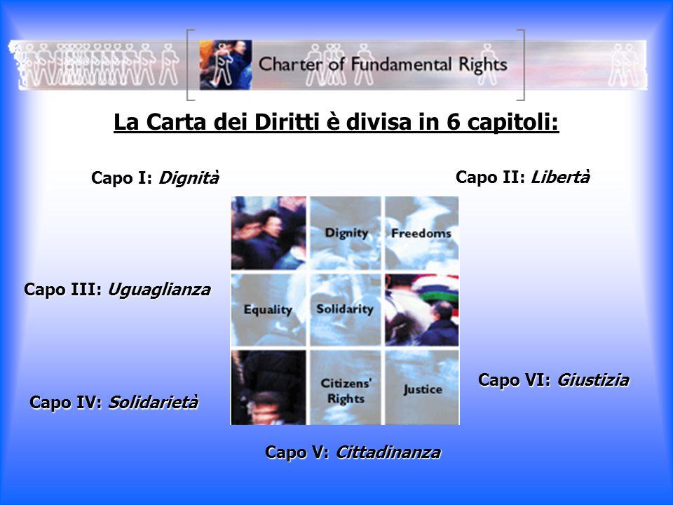 La Carta dei Diritti è divisa in 6 capitoli: